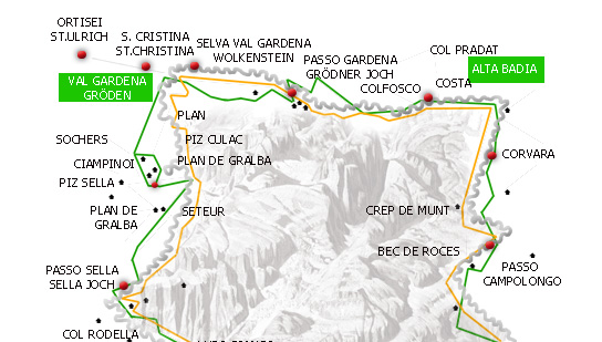 The Sellaronda is a ski route that loops around the massif of the